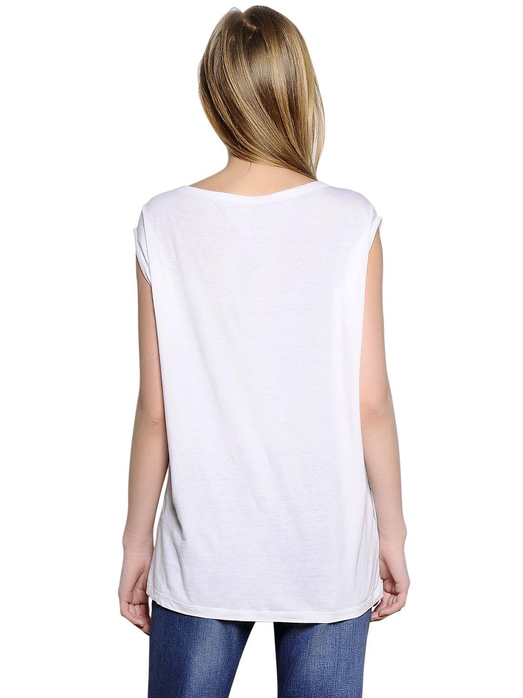 Stella mccartney flocked print cotton silk jersey t shirt for Cotton silk tee shirts