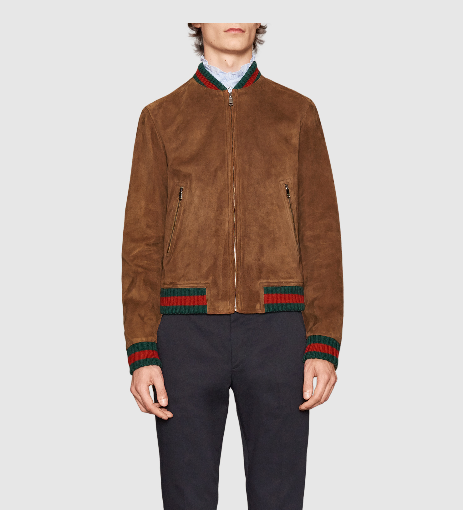 Gucci Suede Jacket With Web in Brown for Men - Lyst a0e76c594a2b