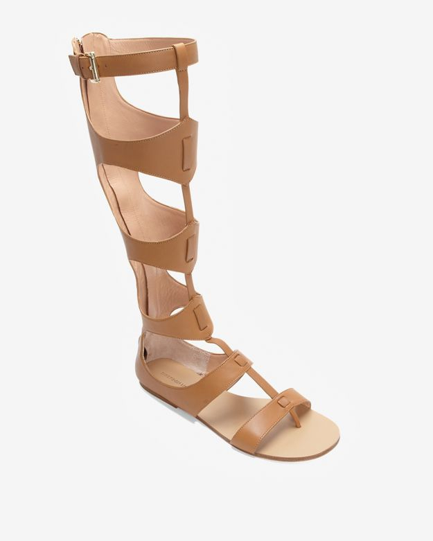 48a12684d649 Lyst - Sigerson Morrison Knee High Gladiator Sandal Tan in Brown