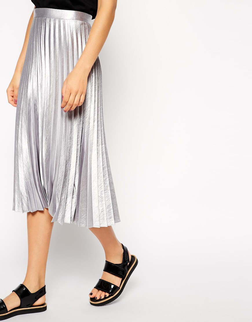 Asos Pleated Midi Skirt In Metallic in Metallic | Lyst