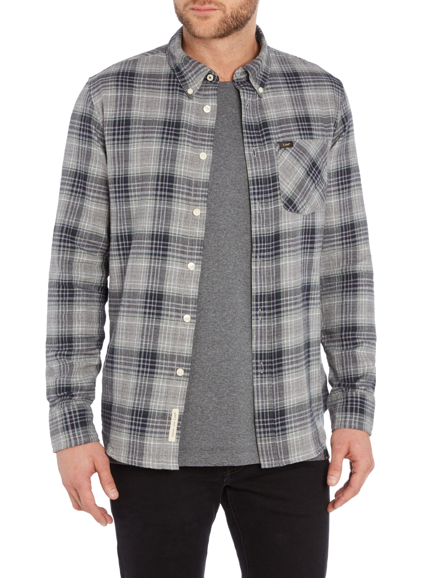 Lee jeans regular fit button down check shirt in gray for for Mens grey button down dress shirt