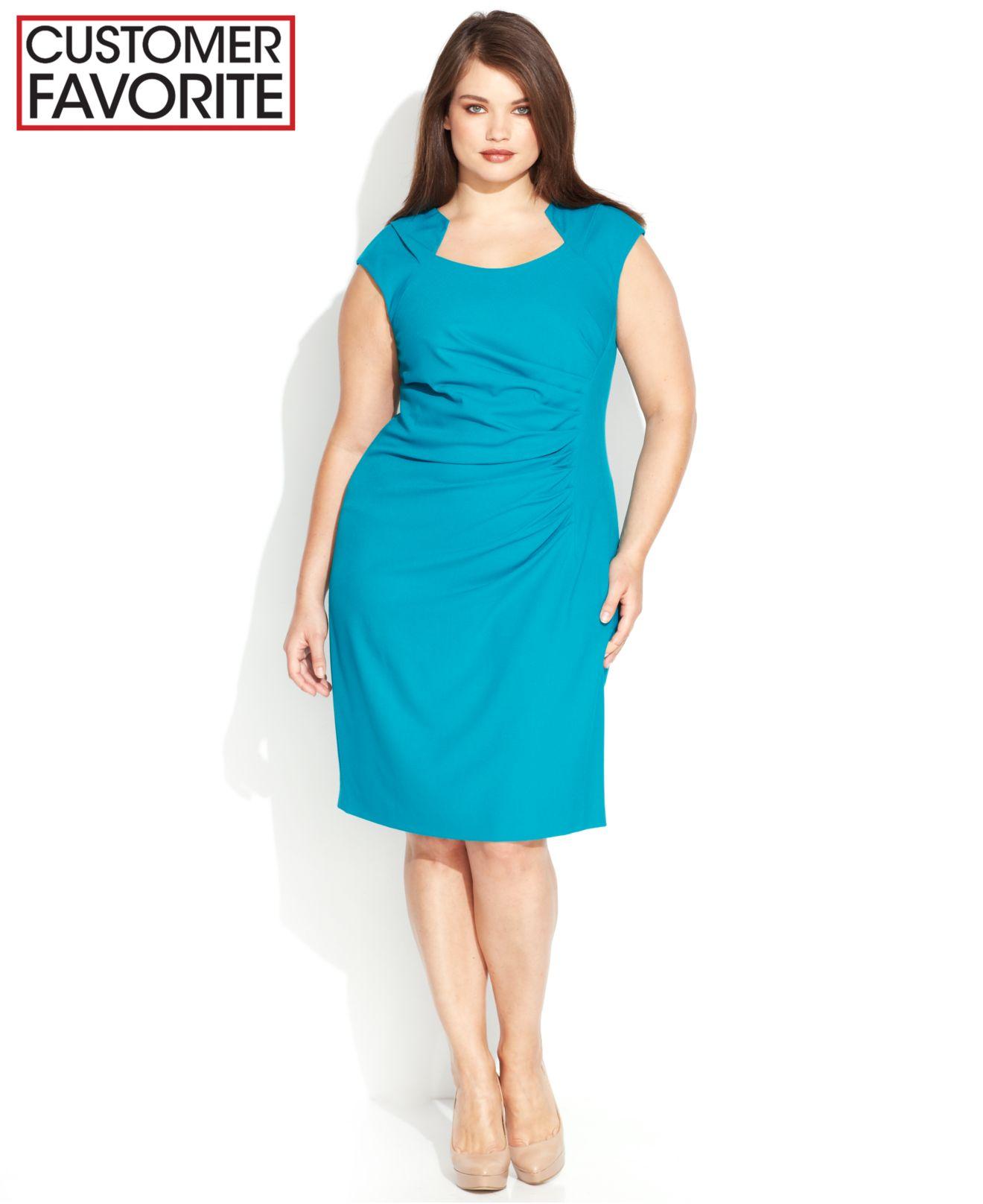 Lyst - Calvin Klein Plus Size Cap-Sleeve Cutout-Neckline Sheath in ...