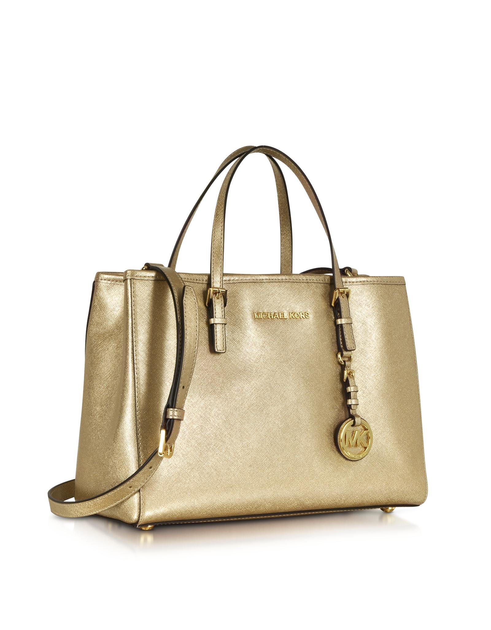 df008fa9ab26 Michael Kors Jet Set Travel Pale Gold Metallic Saffiano Leather ...