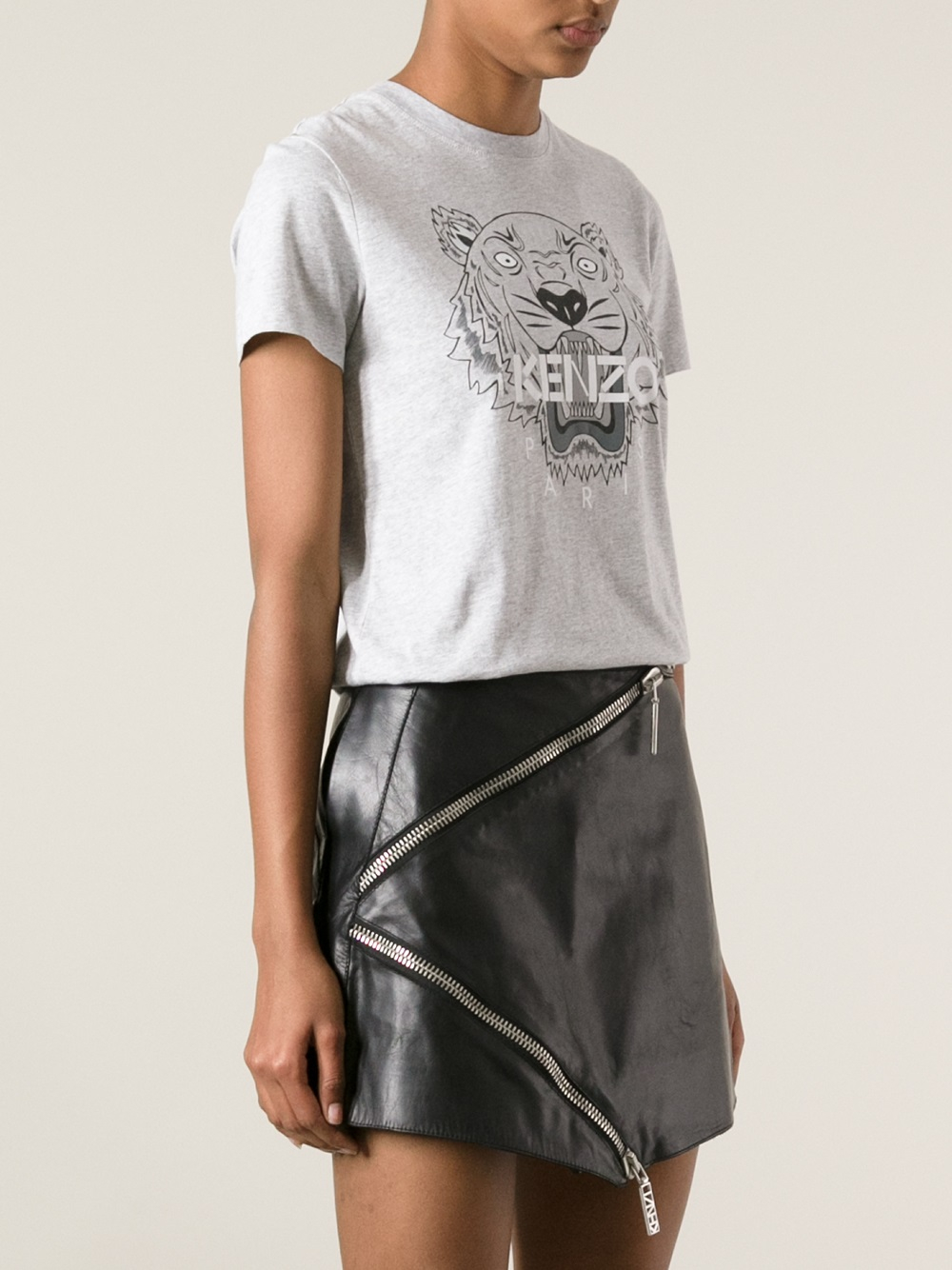 kenzo logo tiger print tshirt in gray lyst. Black Bedroom Furniture Sets. Home Design Ideas