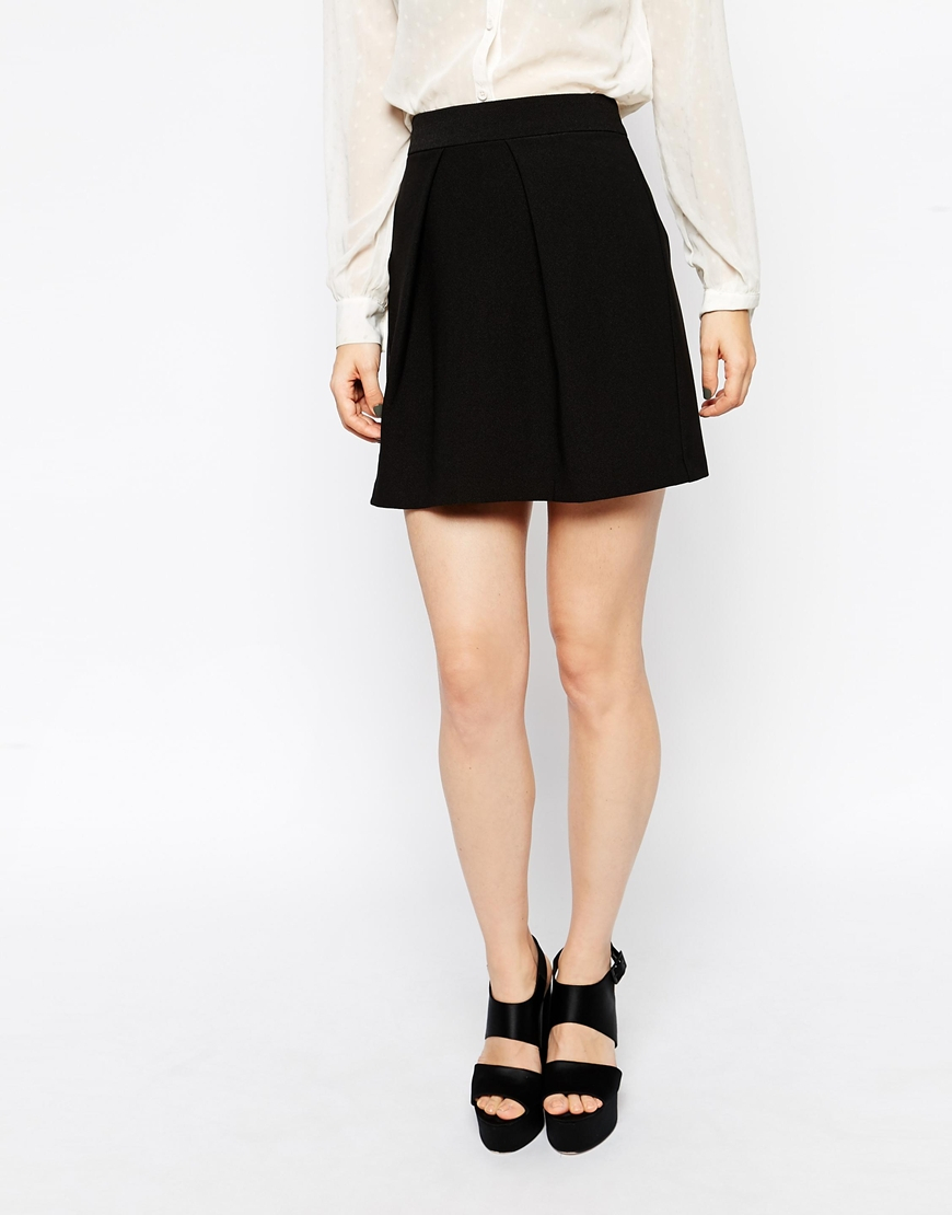 asos a line mini skirt with pleat front in black lyst
