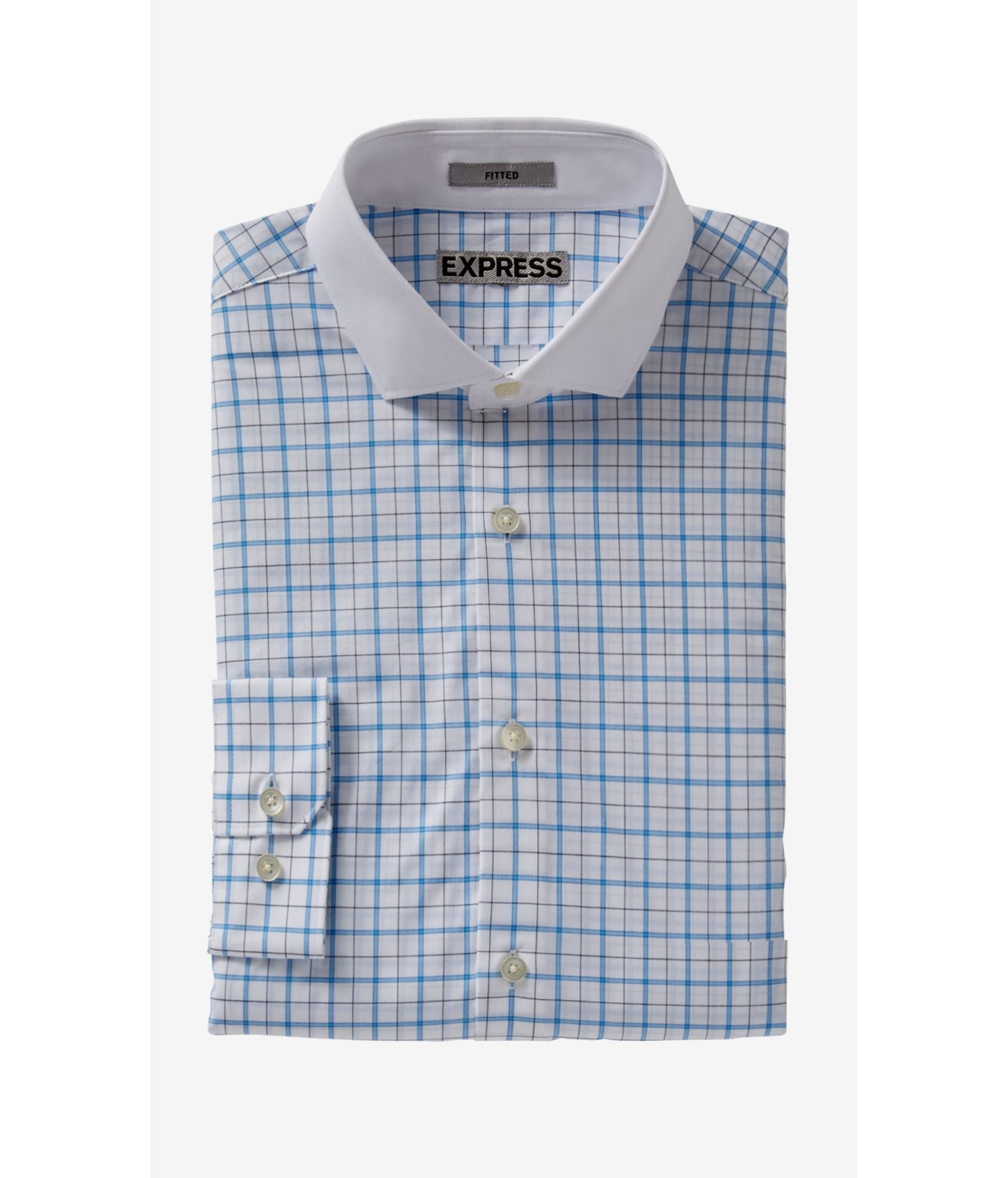 Lyst express fitted graph check contrast collar dress for Blue check dress shirt