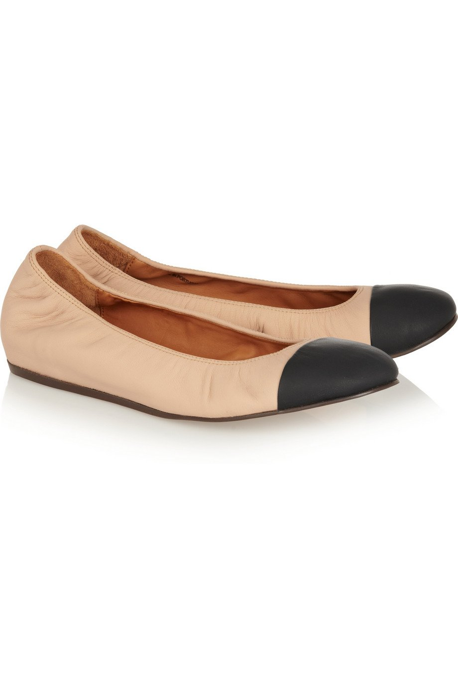 5a2b2d88bd8f Lyst - Lanvin Two-Tone Leather Ballet Flats in Natural
