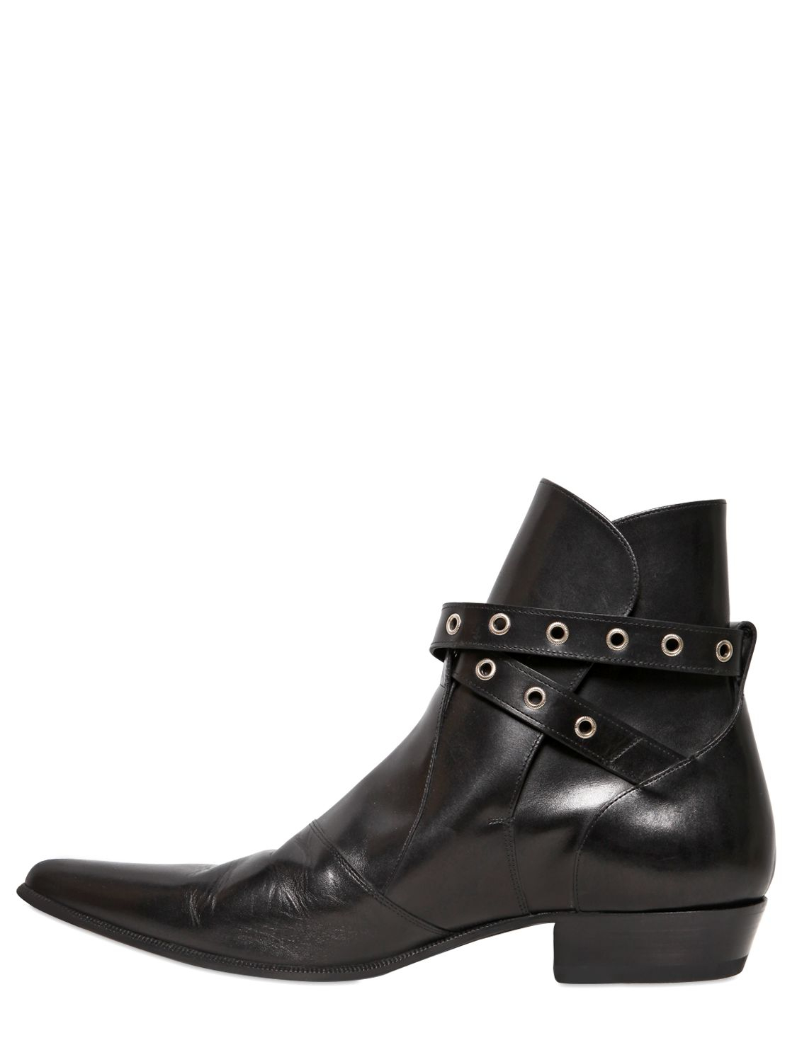 Saint Laurent Leather Buckled Boots Clearance New Outlet Recommend Outlet Pick A Best Discount Classic Factory Price oFrTEv