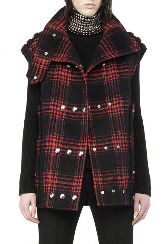 alexander wang buffalo plaid vest in red plaid print lyst. Black Bedroom Furniture Sets. Home Design Ideas