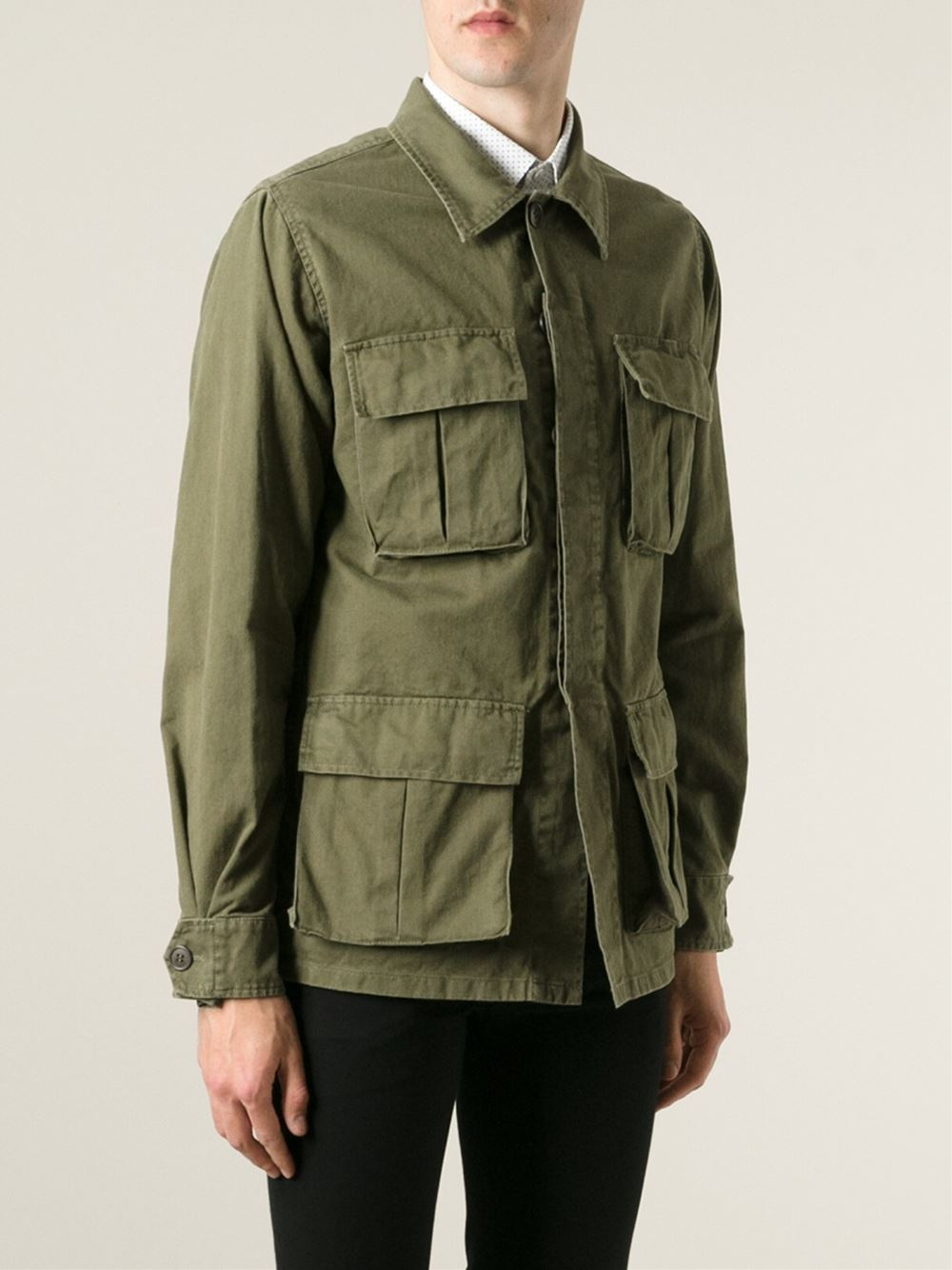 saint laurent embroidered military jacket in green for men