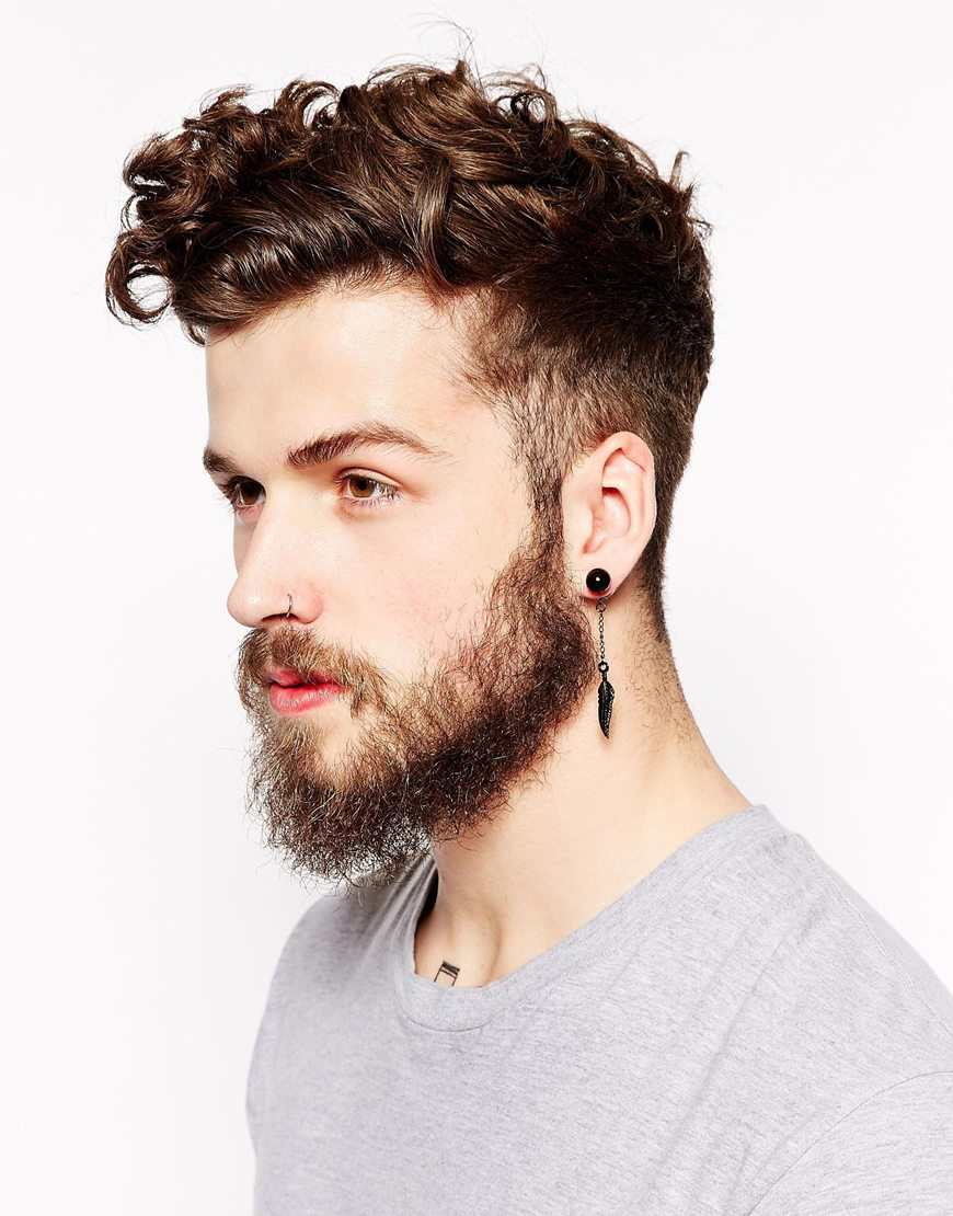 Lyst Asos Plug Earring Pack With Stud And Feather In Black For Men