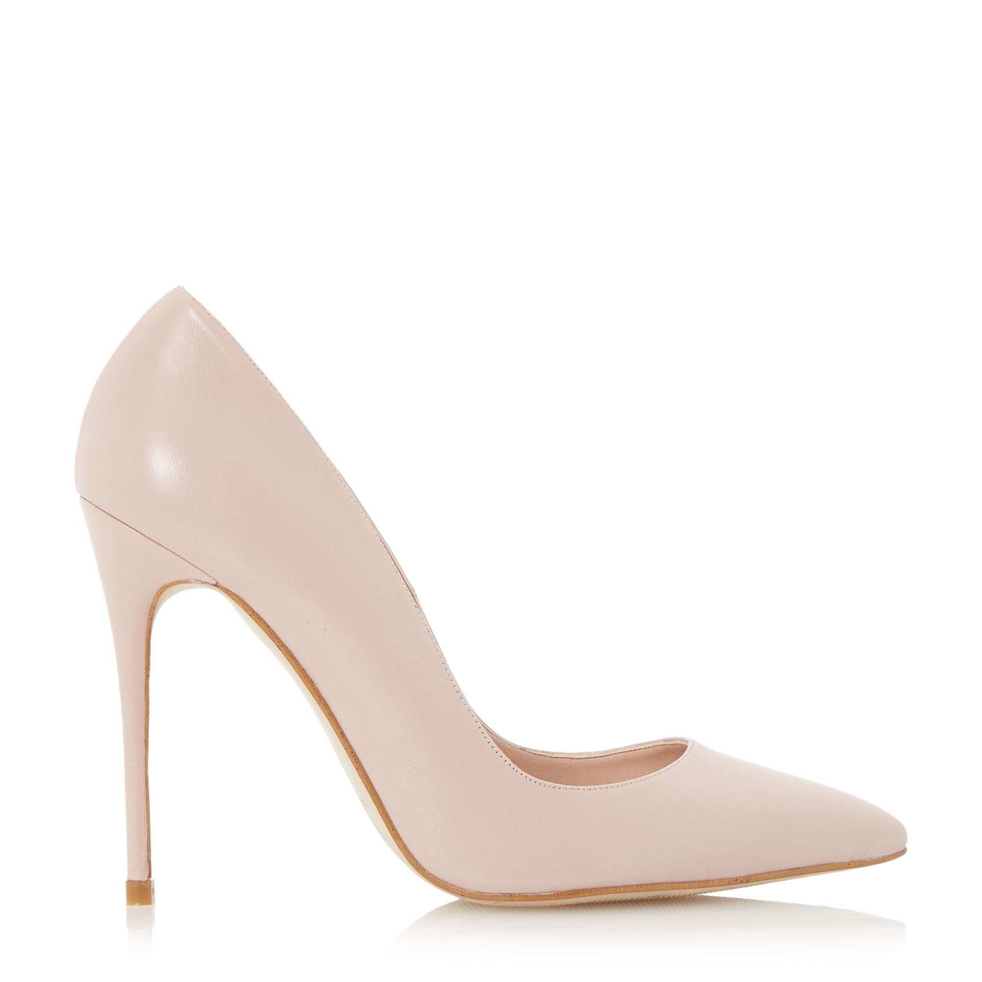 dune allegra pointed high heel court shoes in pink blush