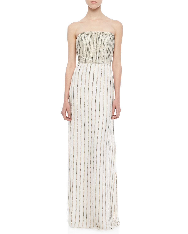 Parker Lovey Beaded Strapless Maxi Dress in White | Lyst