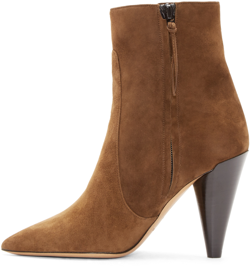 marant brown suede heeled naelle ankle boots in