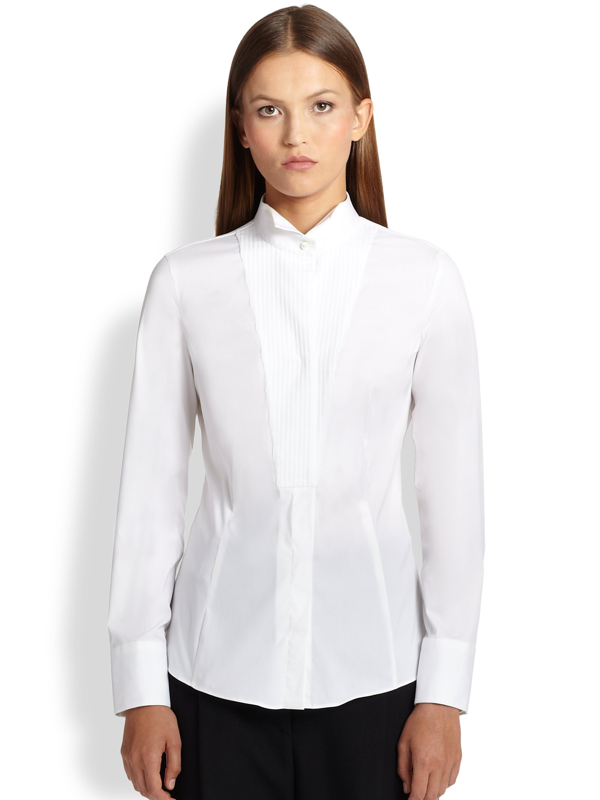 Images of Womens Tuxedo Shirt White