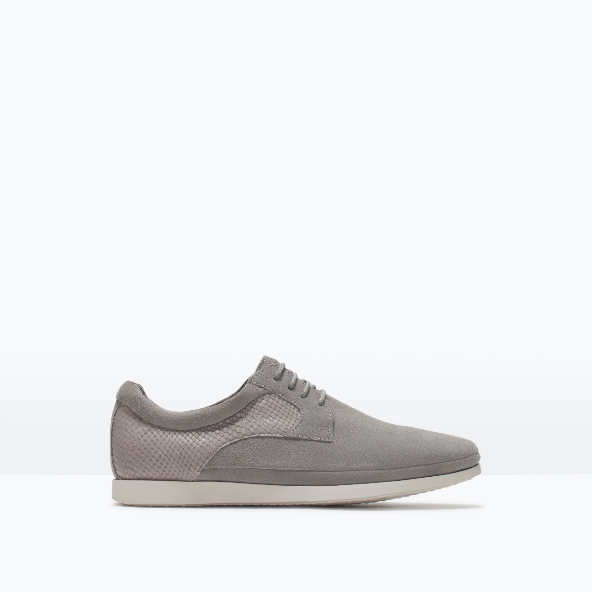 zara leather shoes with snakeskin effect embossed detail
