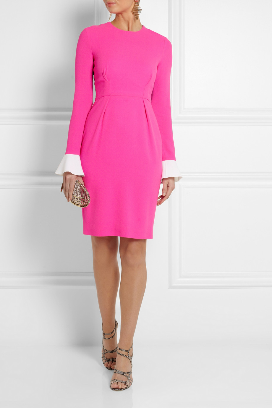 roksanda izumi colorblock woolcrepe dress in pink lyst