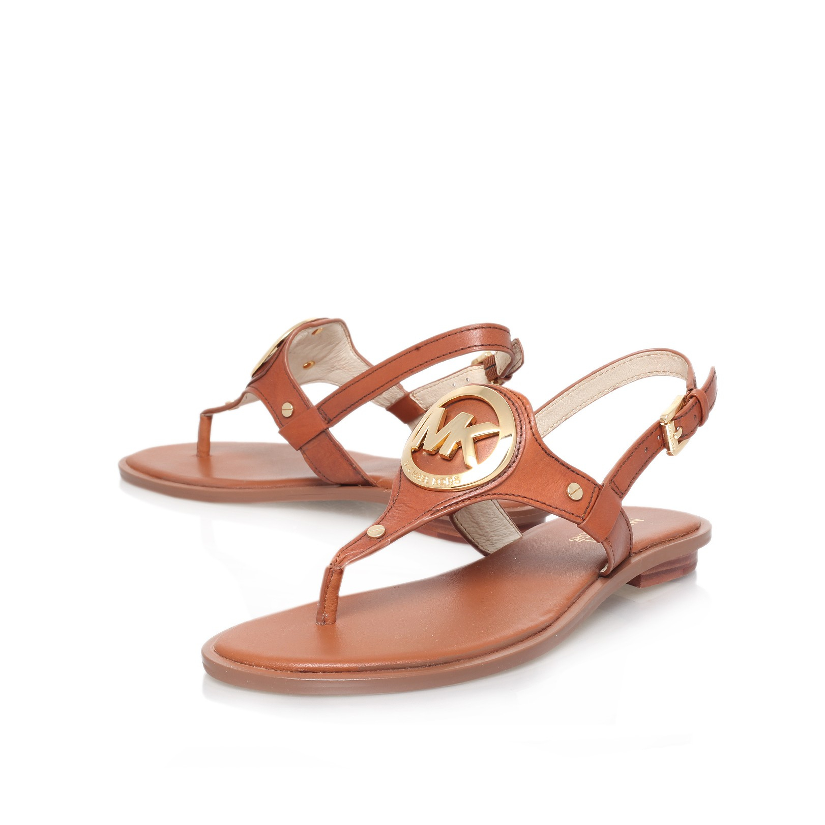 2e1641d787a5 MICHAEL Michael Kors Lee Leather Flat T-strap Sandal in Brown - Lyst