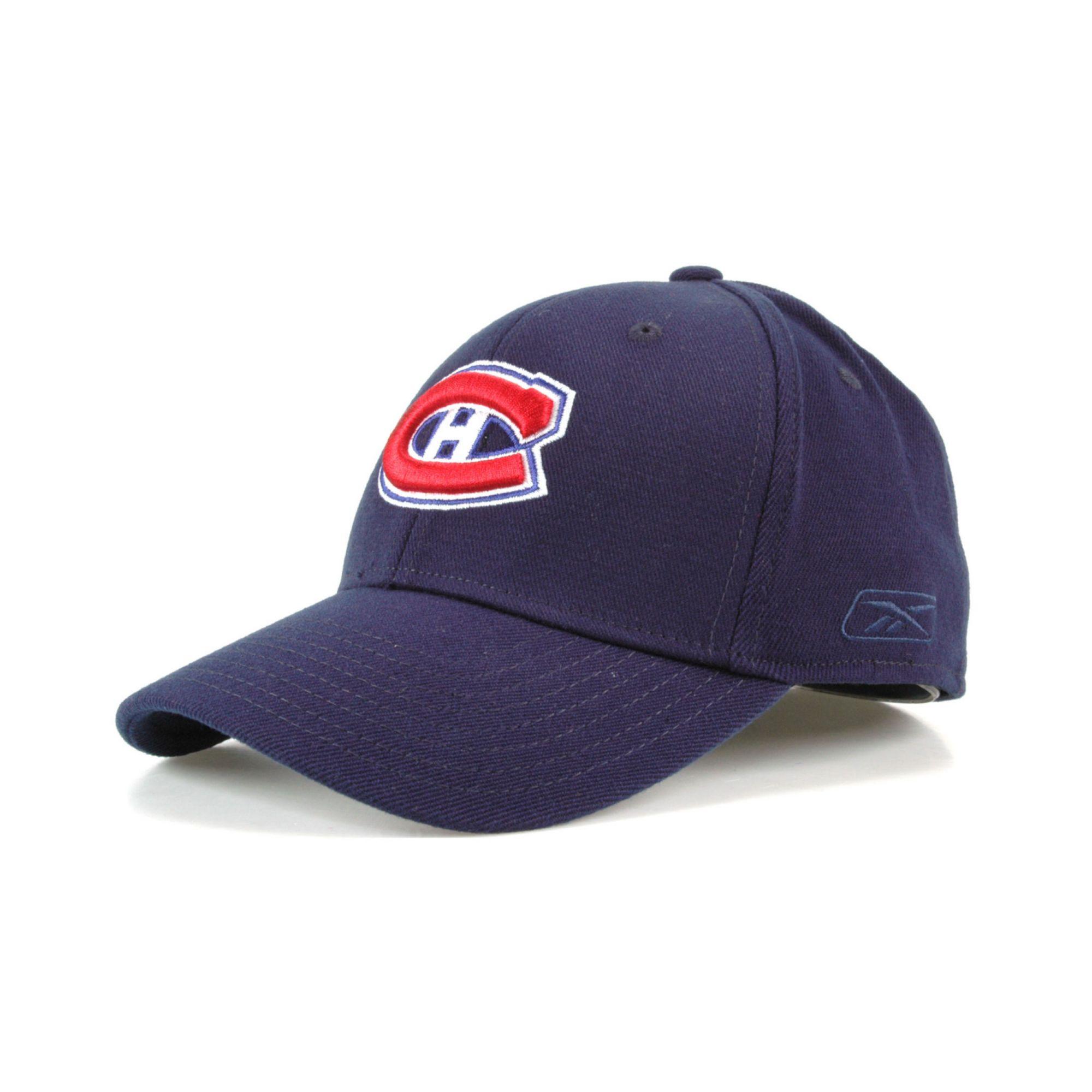 new products 7a94c 14dea Reebok Blue Montreal Canadiens Hat Trick Cap for men