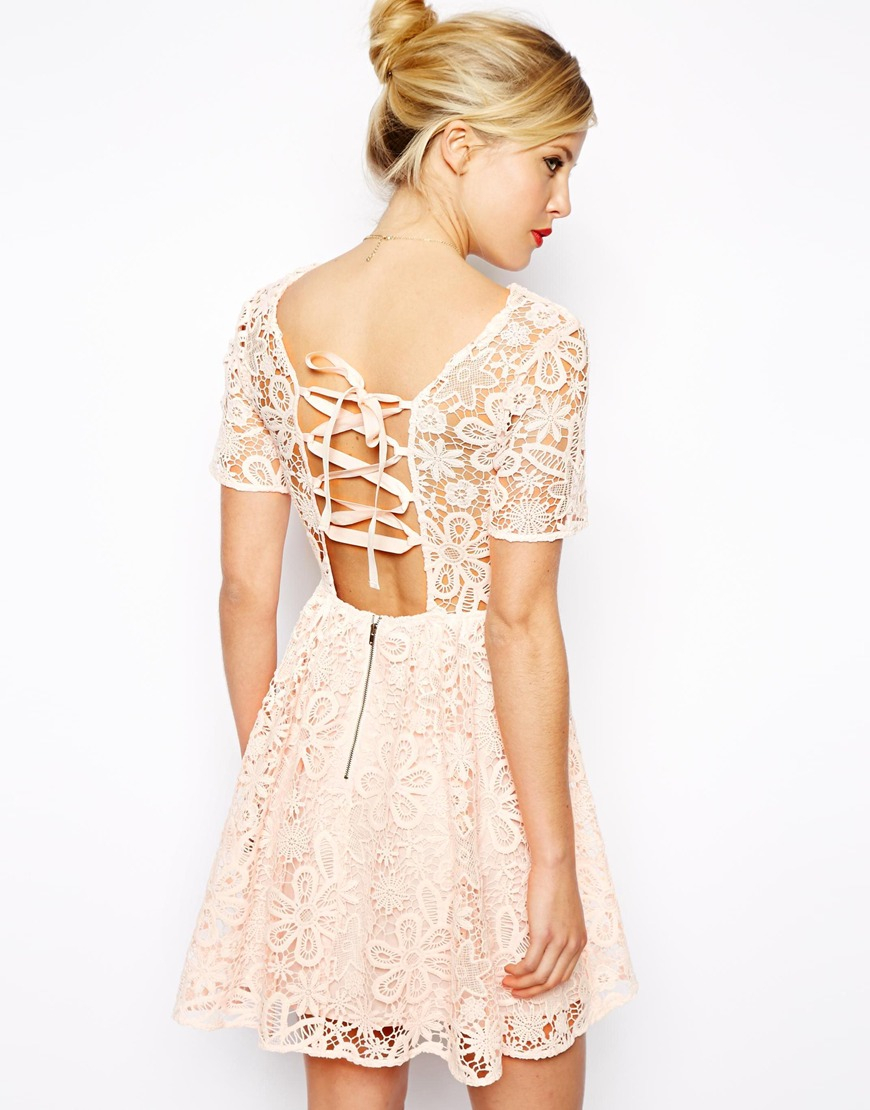 Lyst Asos Lace Skater Dress With Herringbone Tie Back