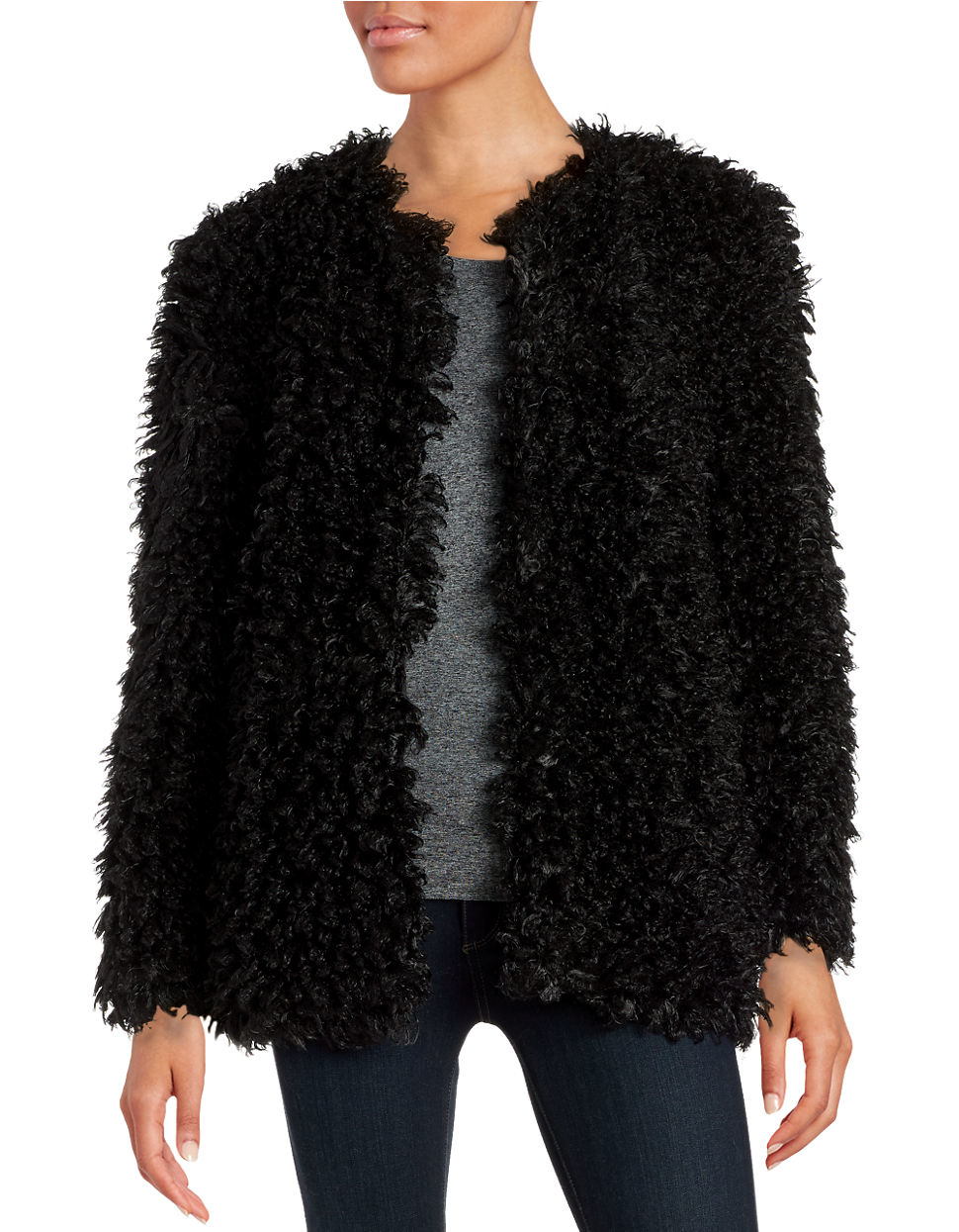 Vince camuto Curly Faux-fur Jacket in Black | Lyst