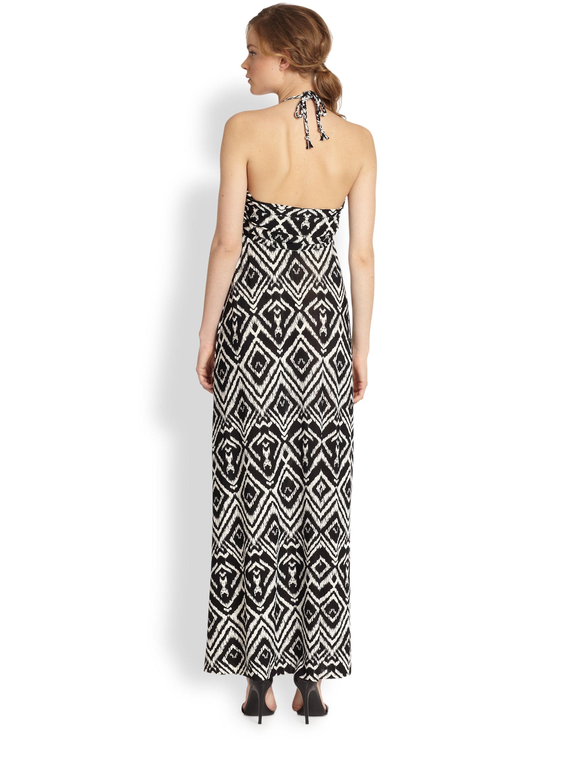 T bags halter maxi dress in black