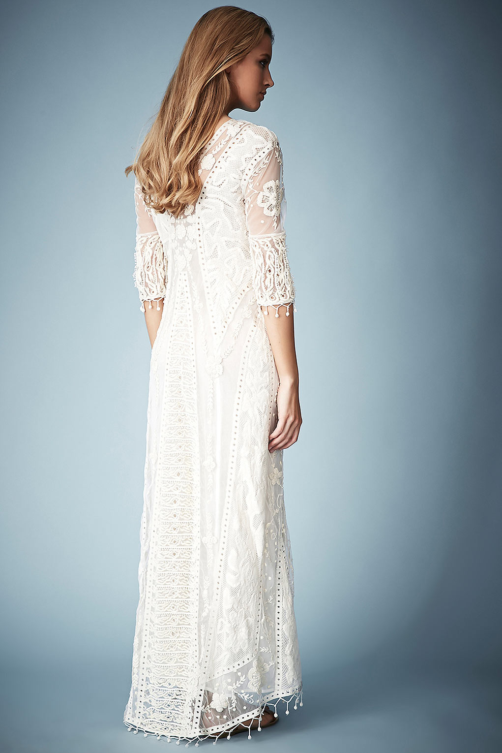 Topshop Crochet Lace Maxi Dress By Kate Moss For In Cream