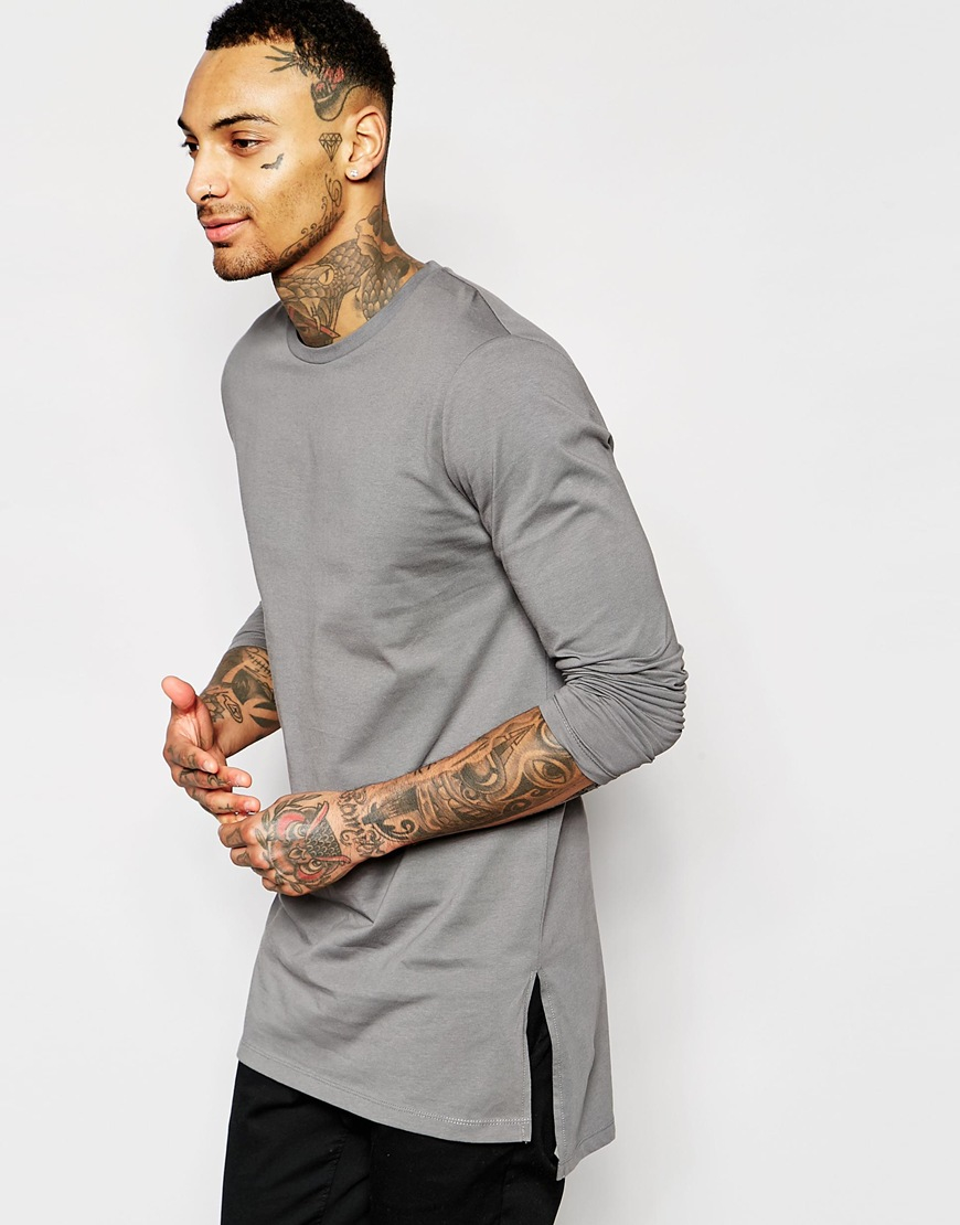 f9dcbfecf ASOS Longline Long Sleeve T-shirt With Side Splits in Gray for Men ...