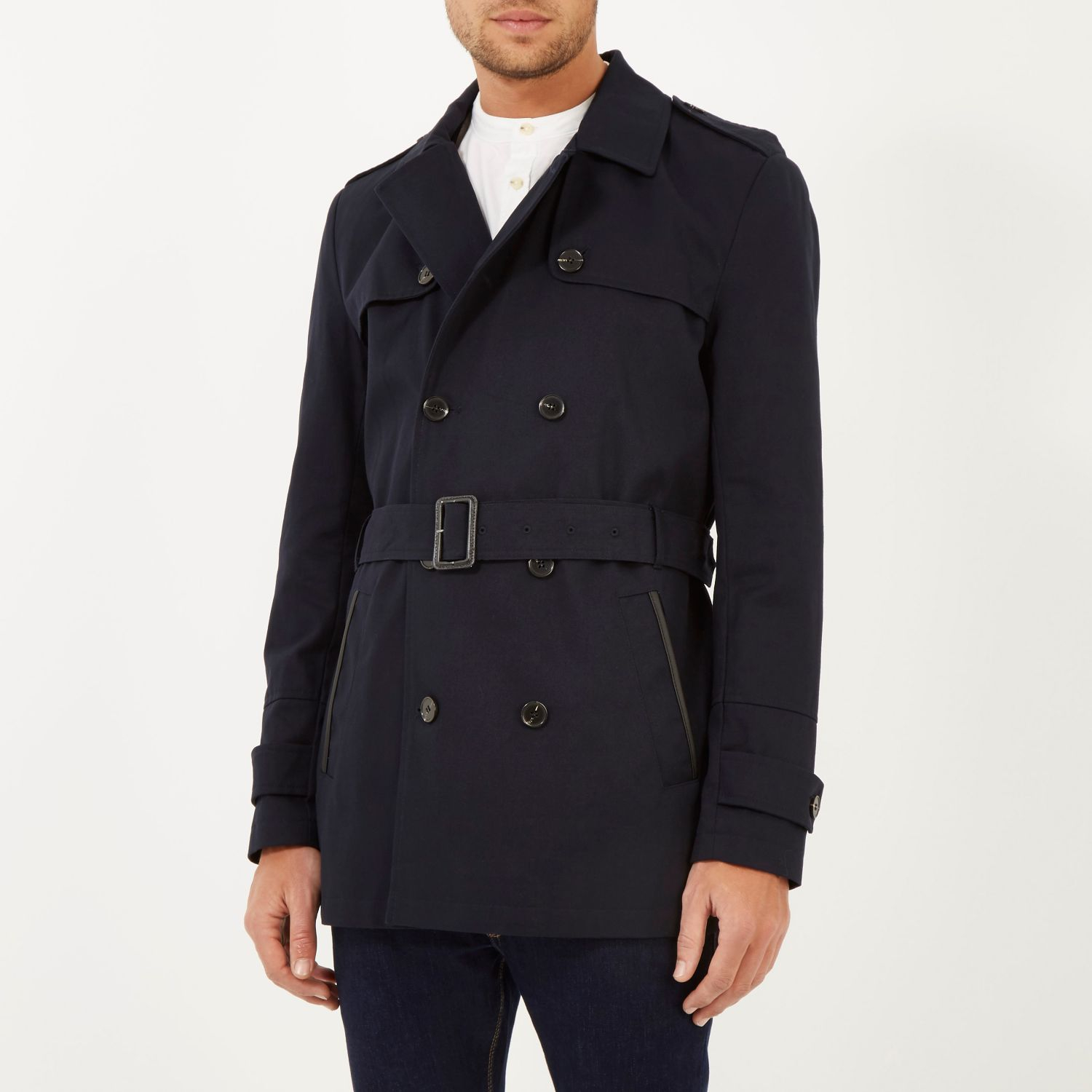River island Navy Smart Short Trench Coat in Blue for Men | Lyst