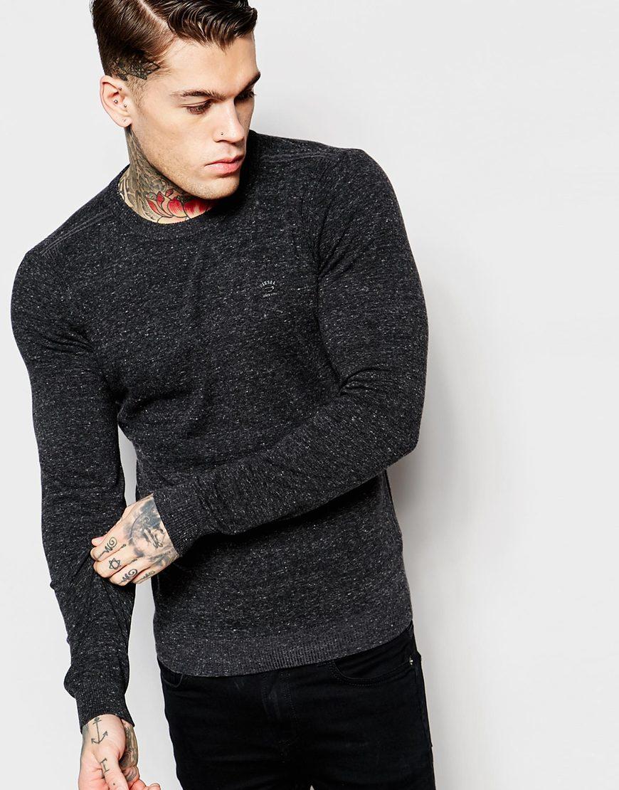 Diesel Crew Knit Jumper K-maniky Slim Fit In Dark Grey in Black ...
