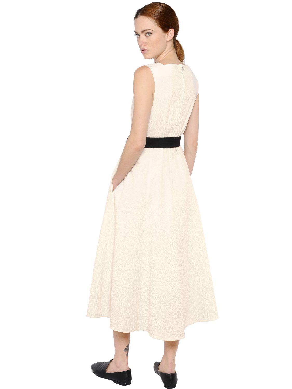Christophe lemaire Sleeveless Cotton Seersucker Dress in White   Lyst