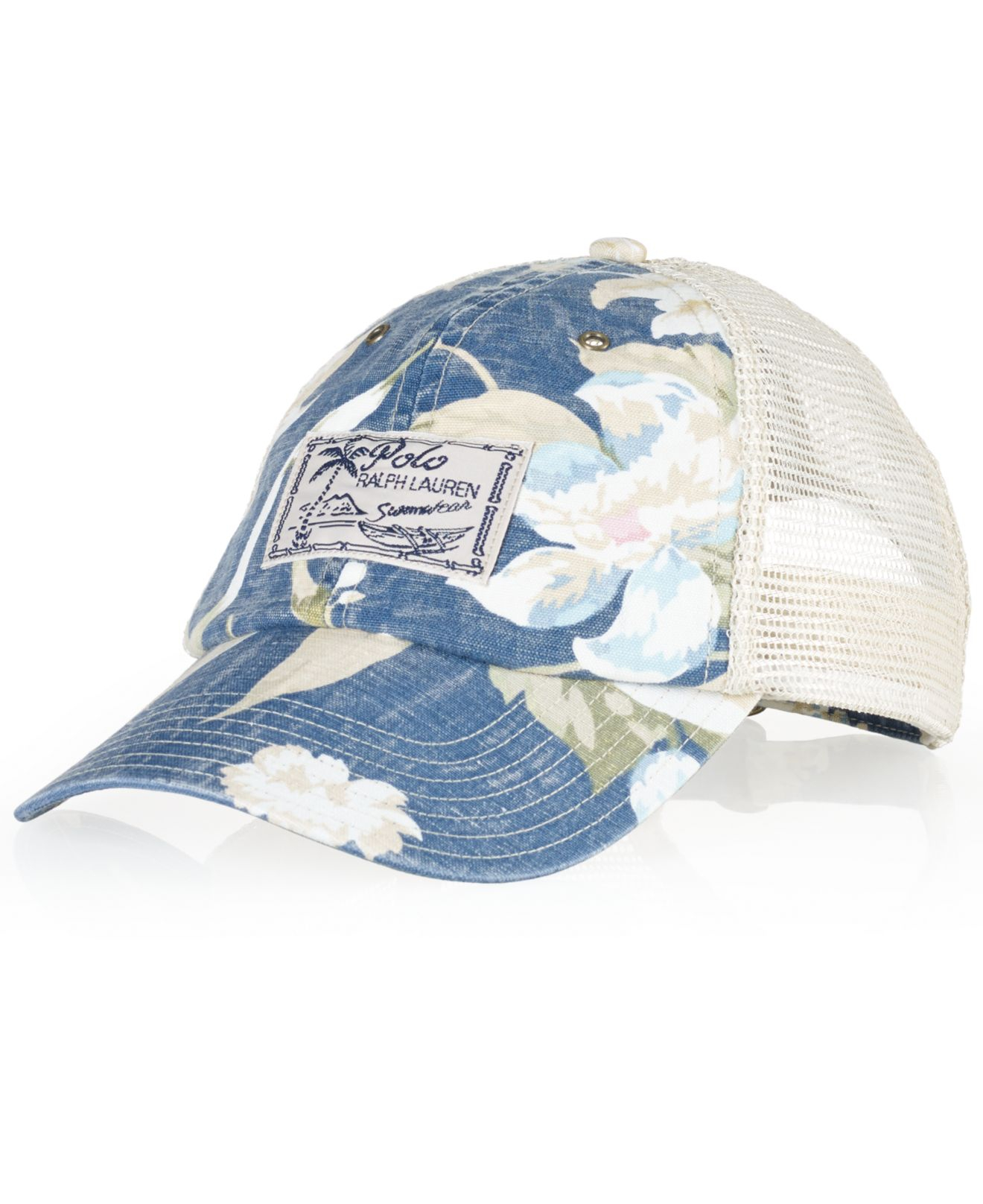 Lyst - Polo Ralph Lauren Floral Trucker Hat in Blue for Men bb8c4da8c53