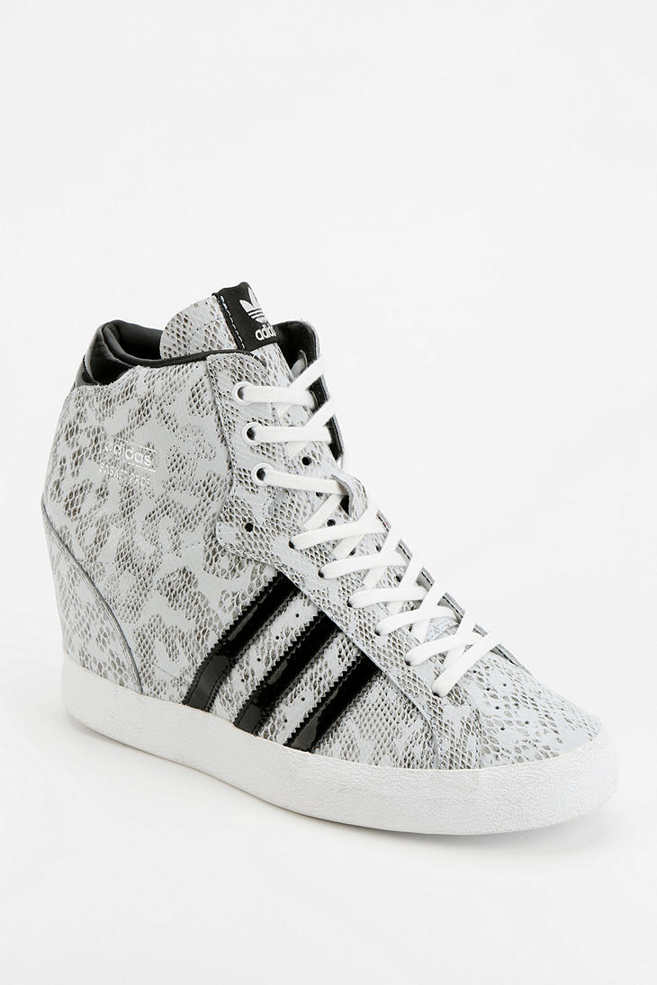 adidas basket snakeskin hidden wedge hightop sneaker in white lyst. Black Bedroom Furniture Sets. Home Design Ideas
