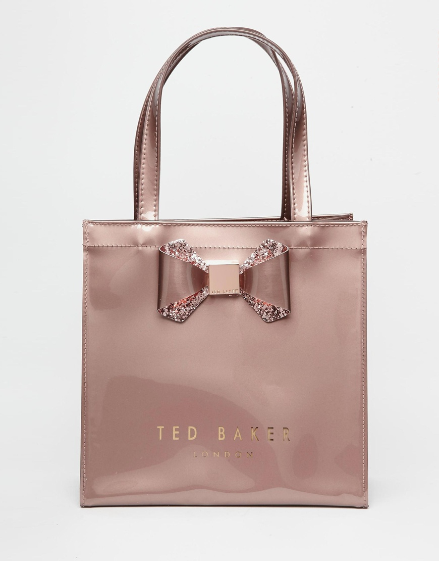 d17ac881d2b2 Lyst Ted Baker Crystal Bow Small Icon Bag In Pink