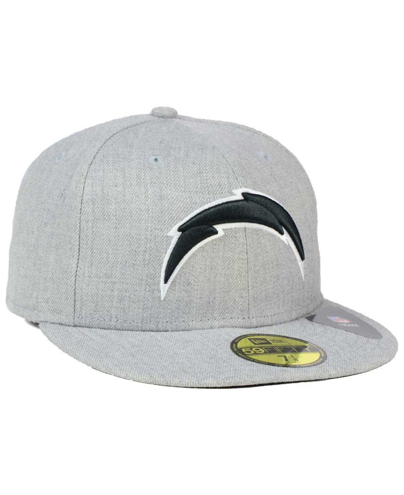 San Diego Chargers Fitted Hats: Ktz San Diego Chargers Heather Black White 59fifty Cap In