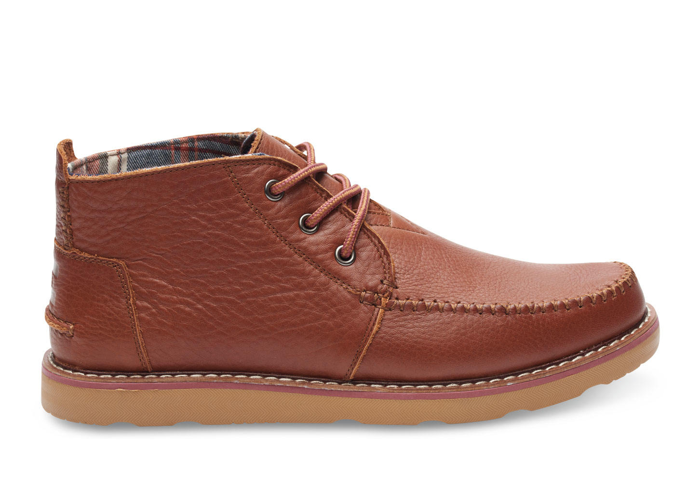 TOMS Brown Full Grain Leather Mens Chukka Boots for Men