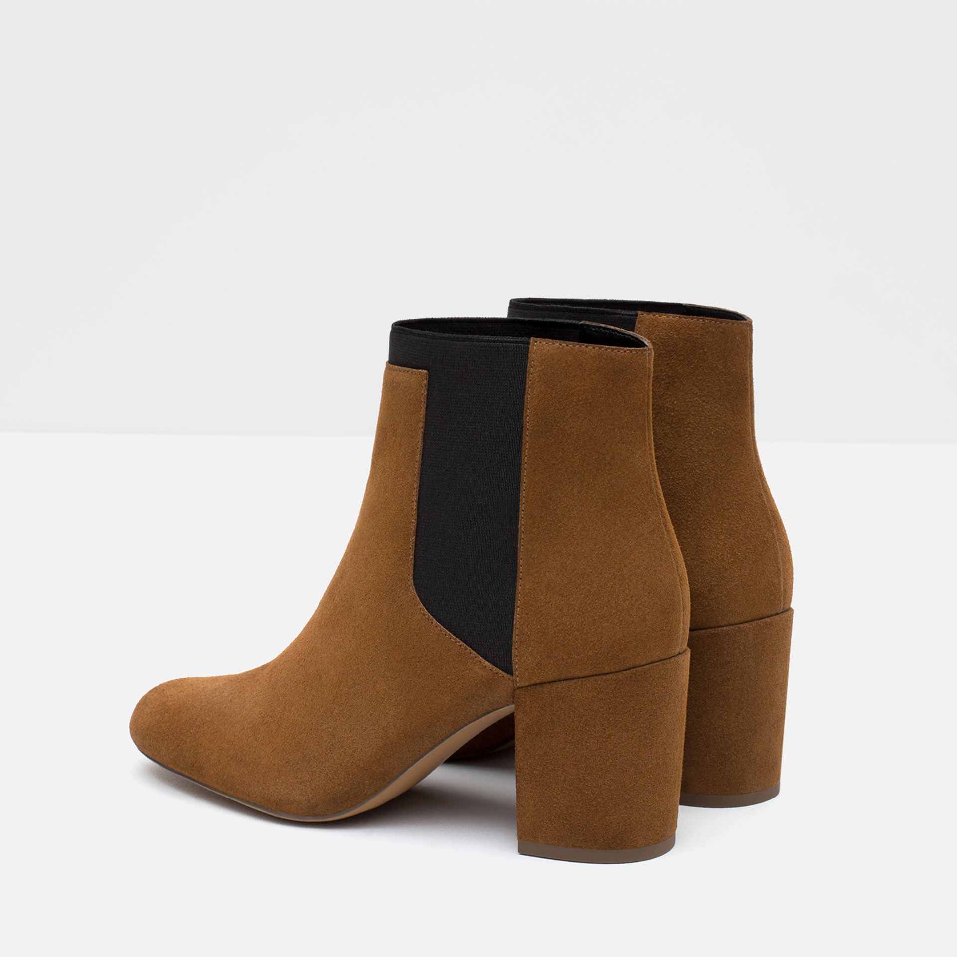 zara elasticated high heel leather ankle boots in brown lyst