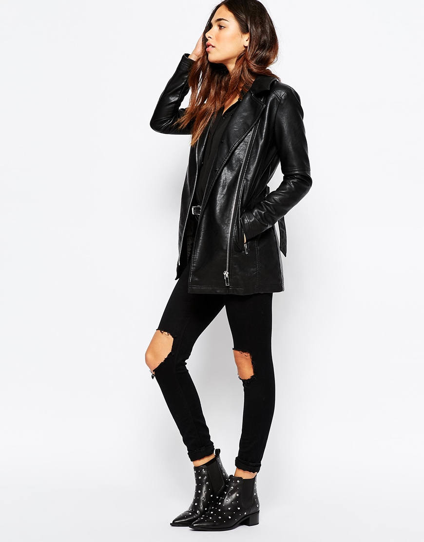 Warehouse Faux Leather And Faux Fur Collar Jacket in Black | Lyst