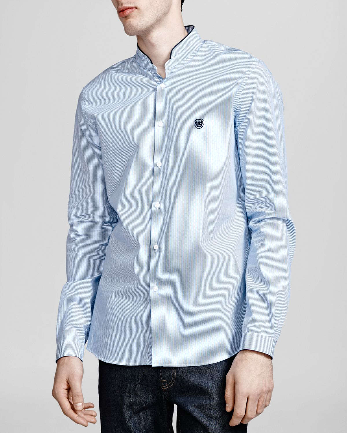 The kooples striped popeline button down shirt slim fit for Athletic fit button down shirts