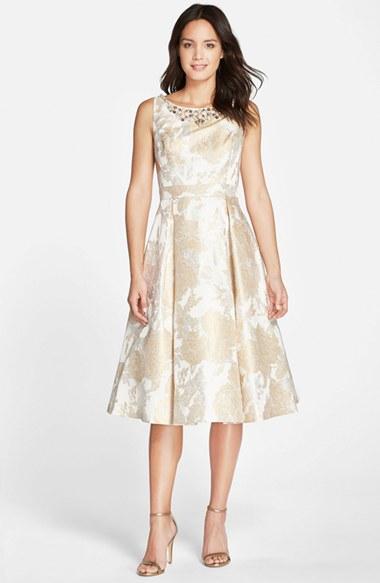 Lyst Eliza J Embellished Neck Fit Flare Midi Dress In Metallic