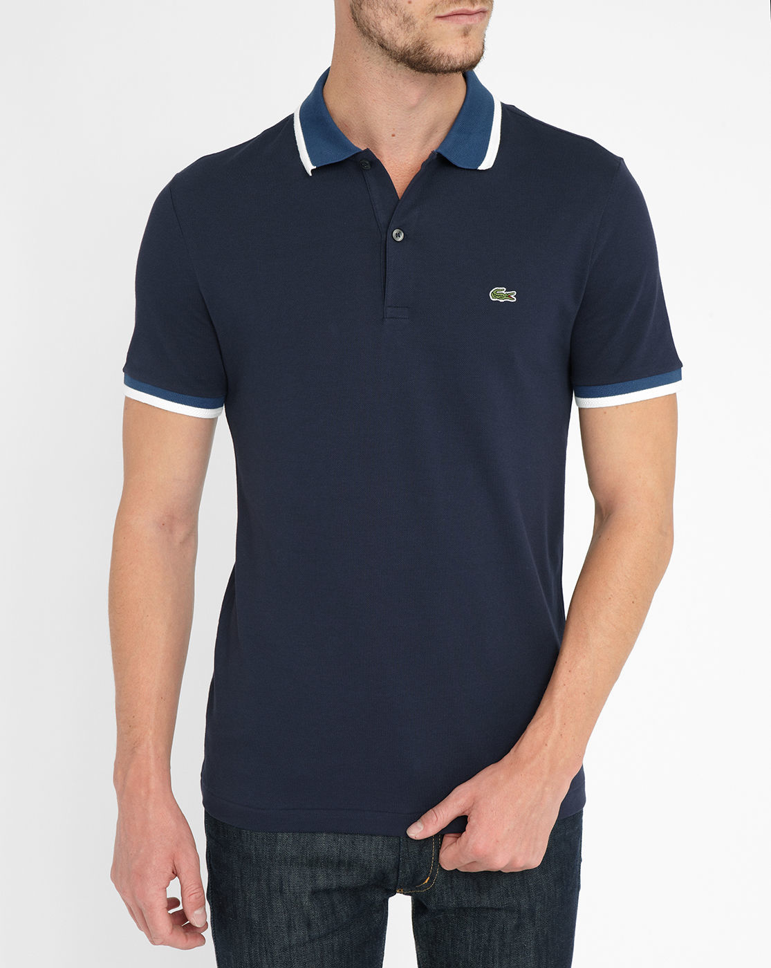 lacoste navy contrasting blue white collar short sleeve. Black Bedroom Furniture Sets. Home Design Ideas
