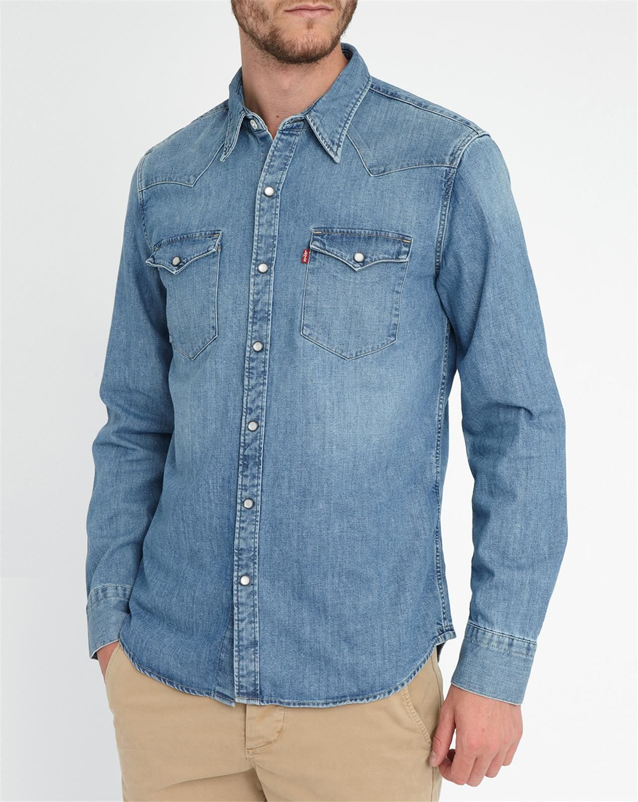 levi 39 s stone washed western denim shirt in blue for men