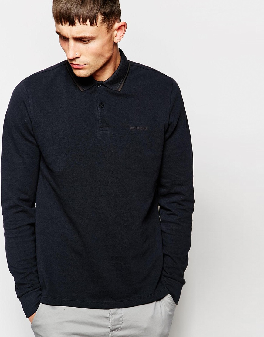 ben sherman polo shirt with tipping long sleeves in black for men jetblac lyst. Black Bedroom Furniture Sets. Home Design Ideas