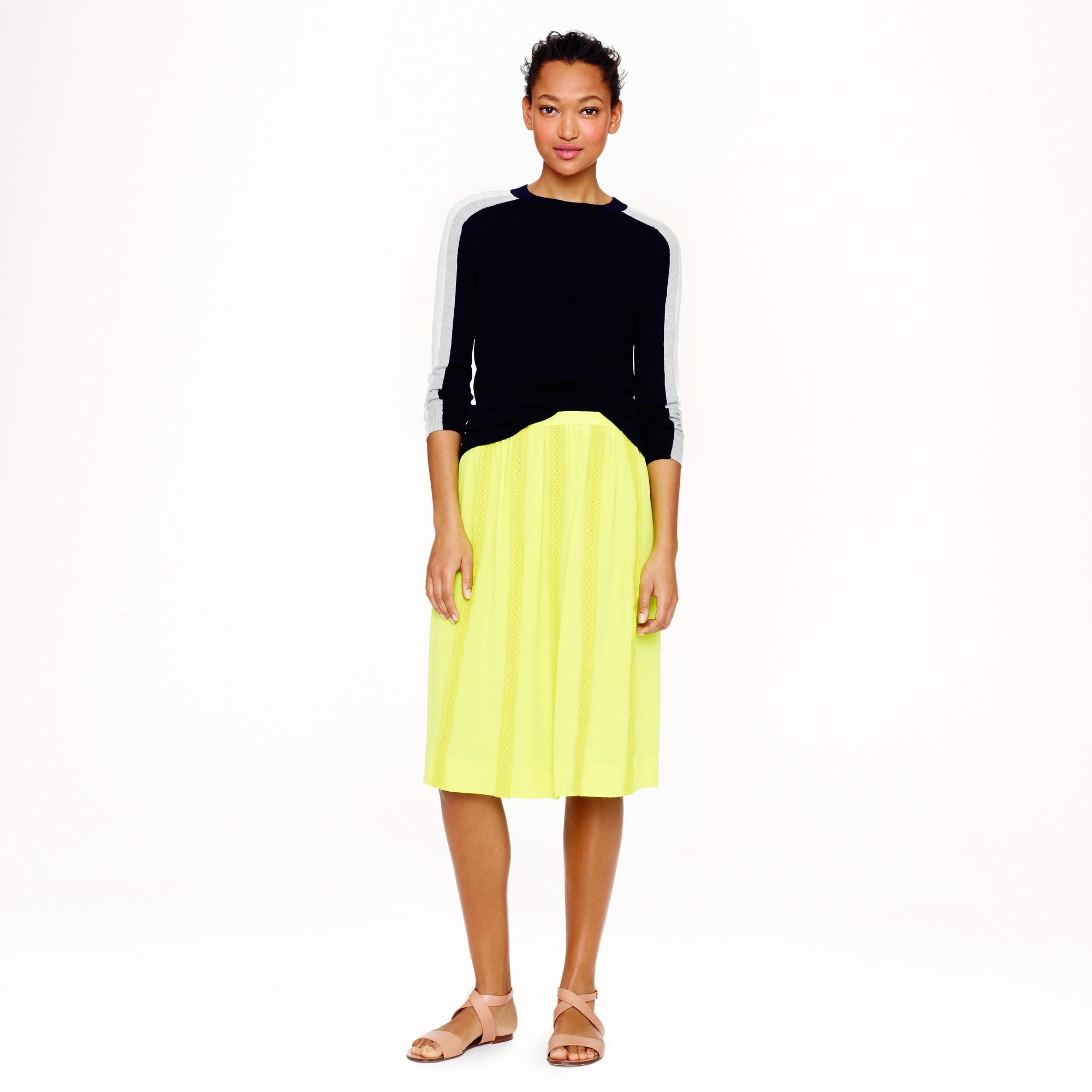 c51e92aea J.Crew Collection Lacestripe Silk Skirt in Yellow - Lyst
