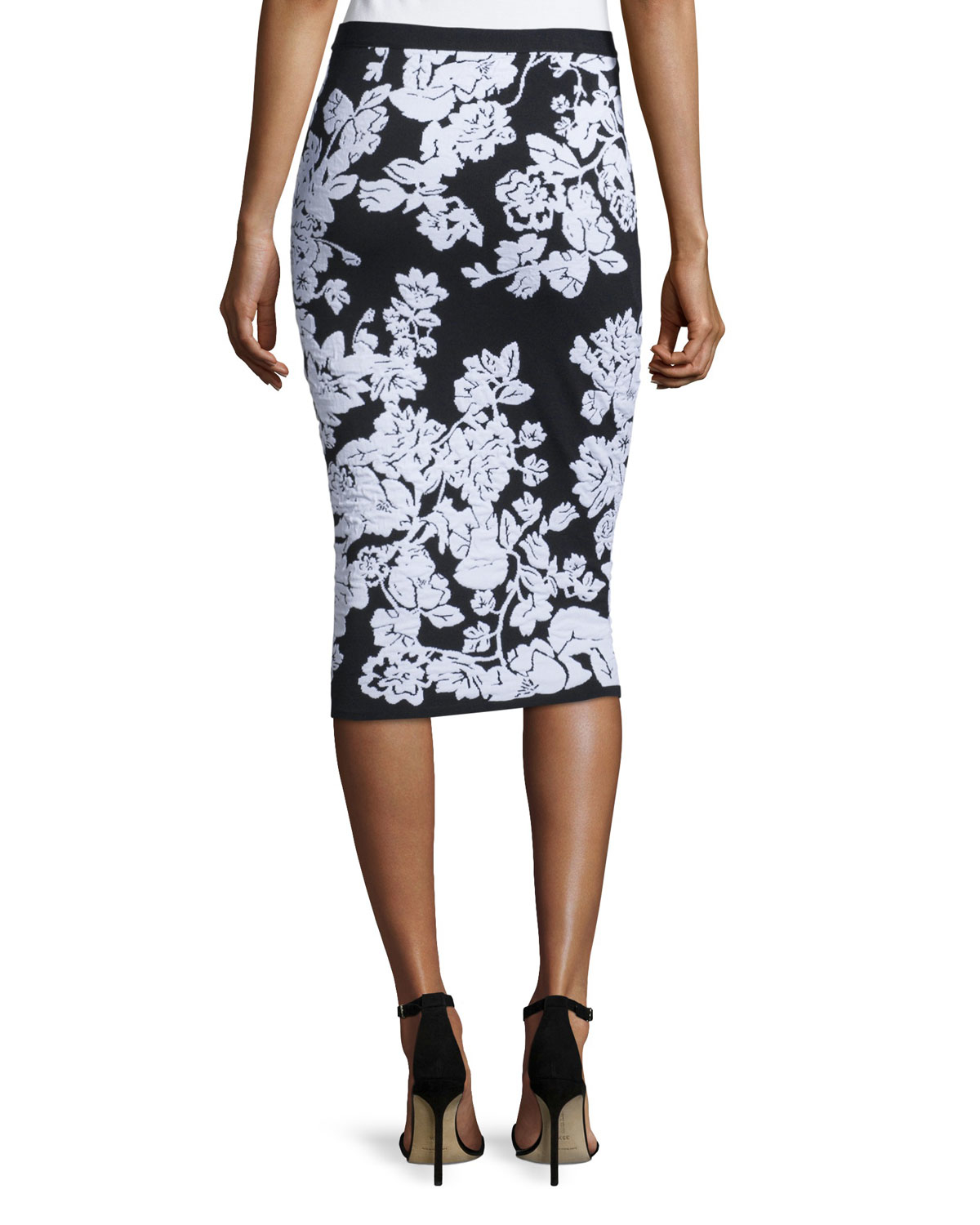 milly floral fitted midi skirt in black lyst