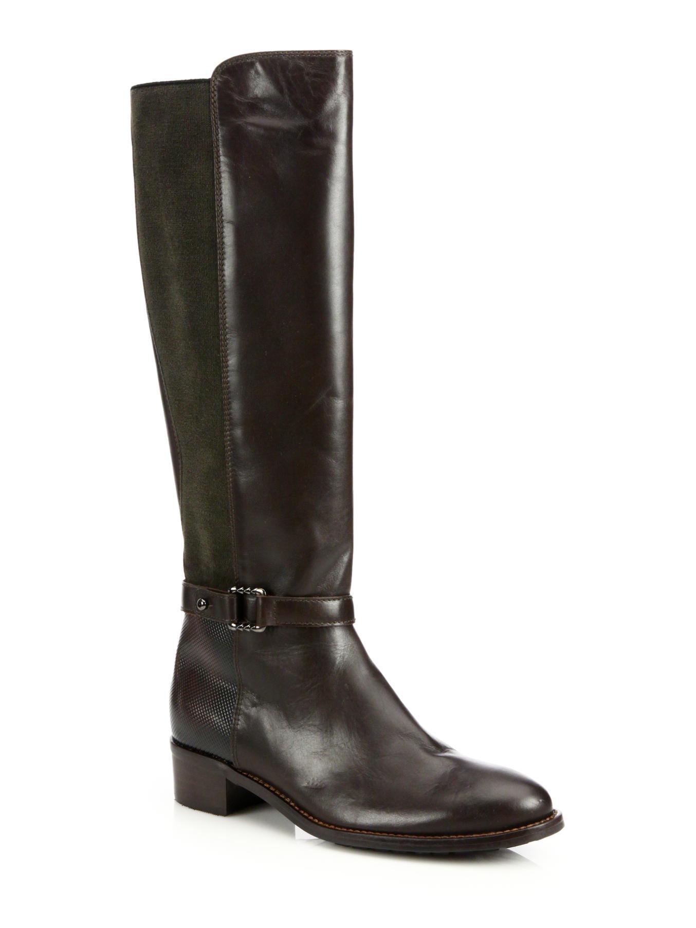 aquatalia olalla leather knee boots in brown espresso lyst