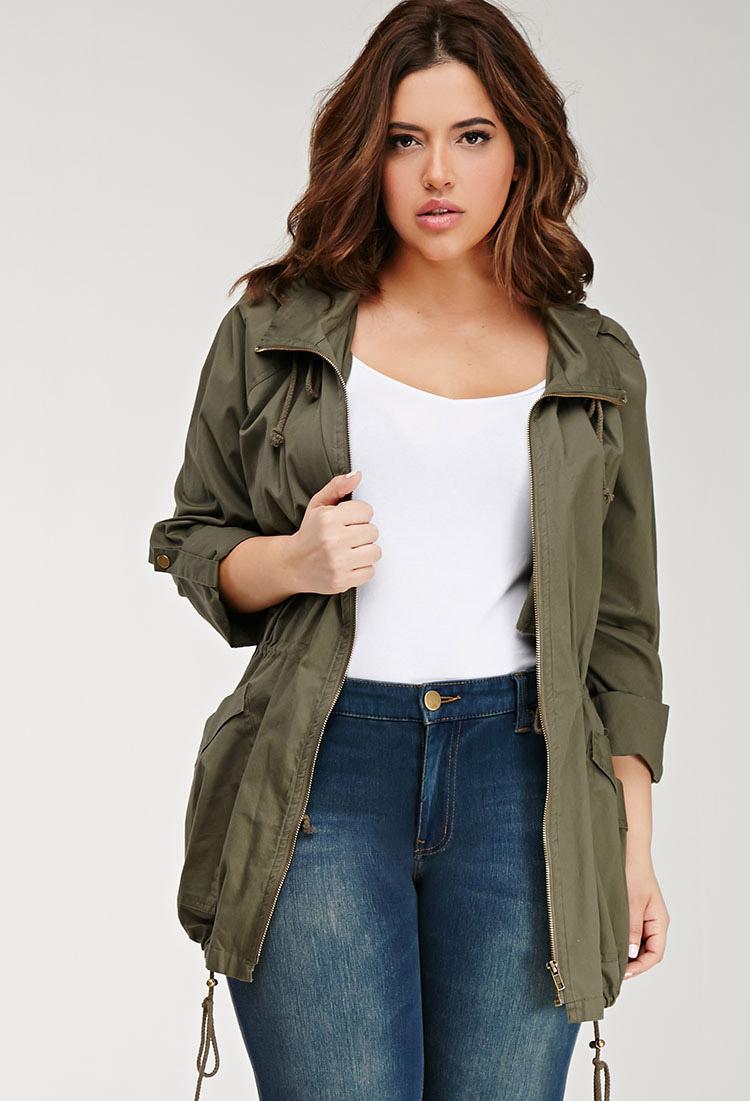 fcfea6b444b88 Forever 21 Plus Size Hooded Utility Jacket in Green - Lyst