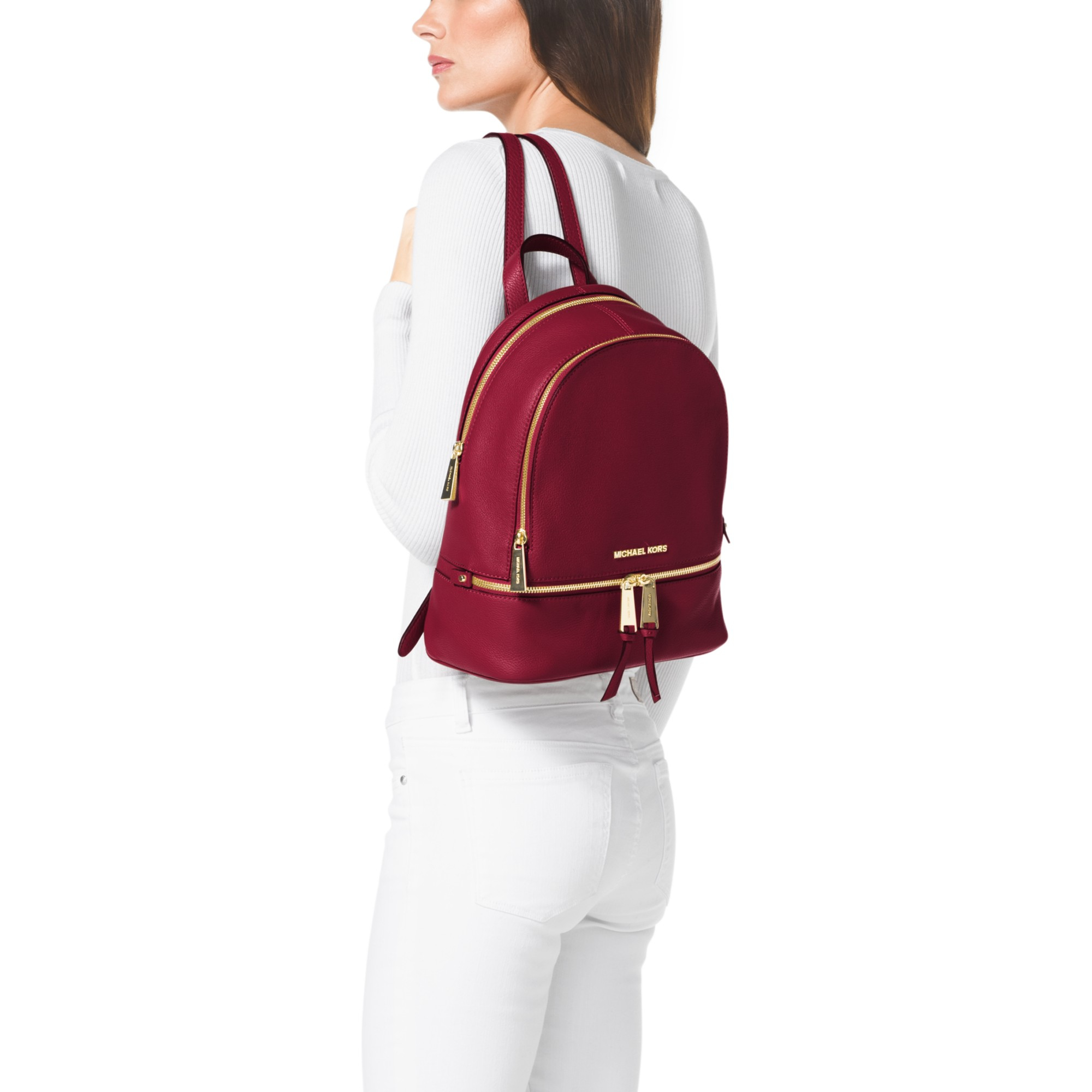 12d32fbdda50 ... closeout michael michael kors rea zip small leather backpack in red  lyst d4cd8 66314