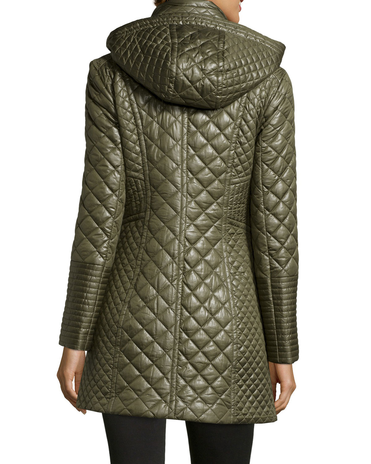 Via Spiga Quilted Mixed Pattern Mid Length Jacket In Moss