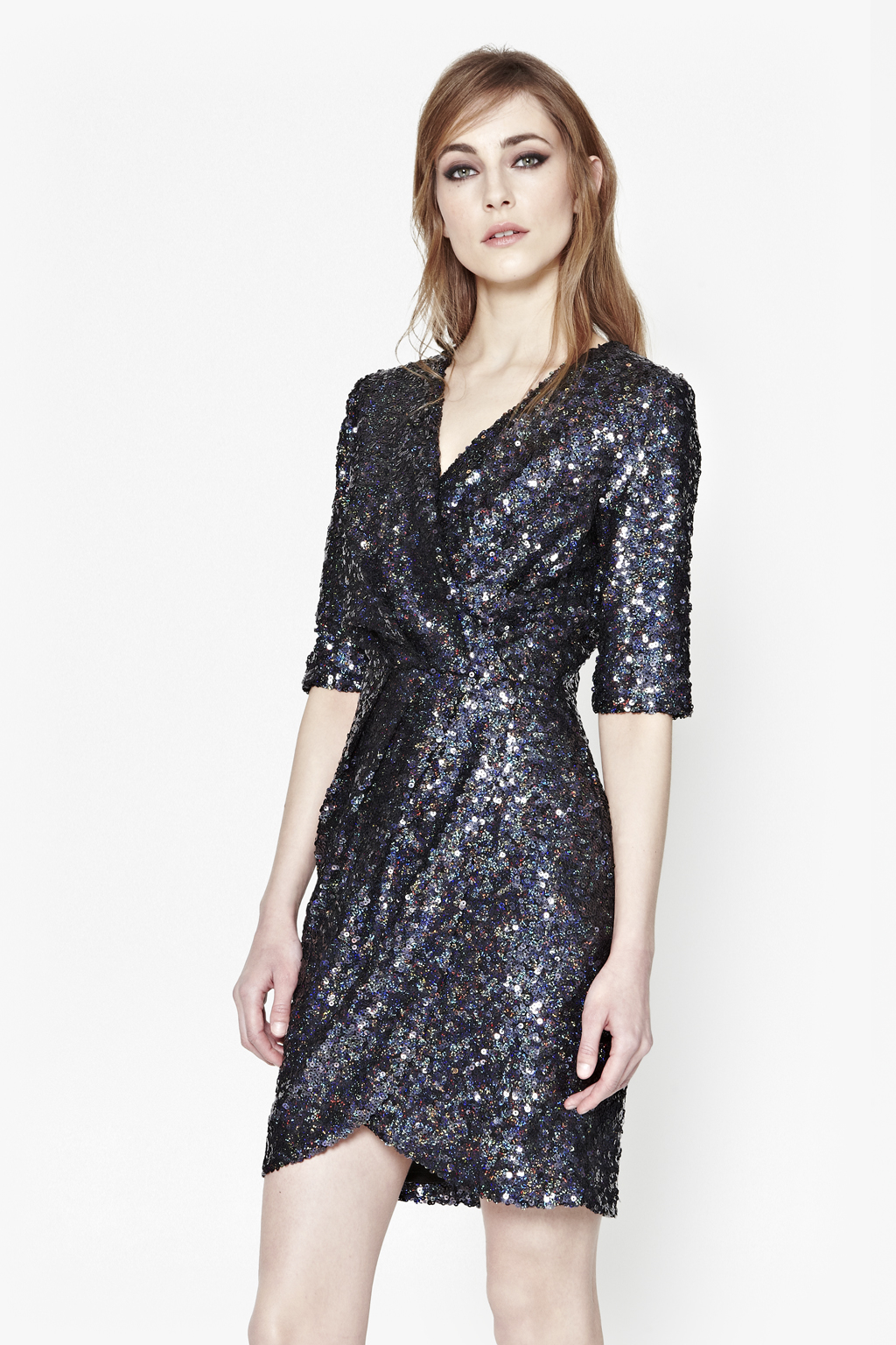 French connection Lunar Sparkle Sequin Wrap Dress in Black ...